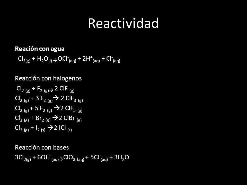 Reactividad Reación con agua Cl 2(g) + H 2 O (l) OCl - (aq) + 2H + (aq) + Cl - (aq) Reacción con halogenos Cl 2 (g) + F 2 (g) 2 ClF (g) Cl 2 (g) + 3 F