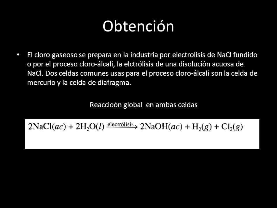Obtención El cloro gaseoso se prepara en la industria por electrolisis de NaCl fundido o por el proceso cloro-álcali, la elctrólisis de una disolución