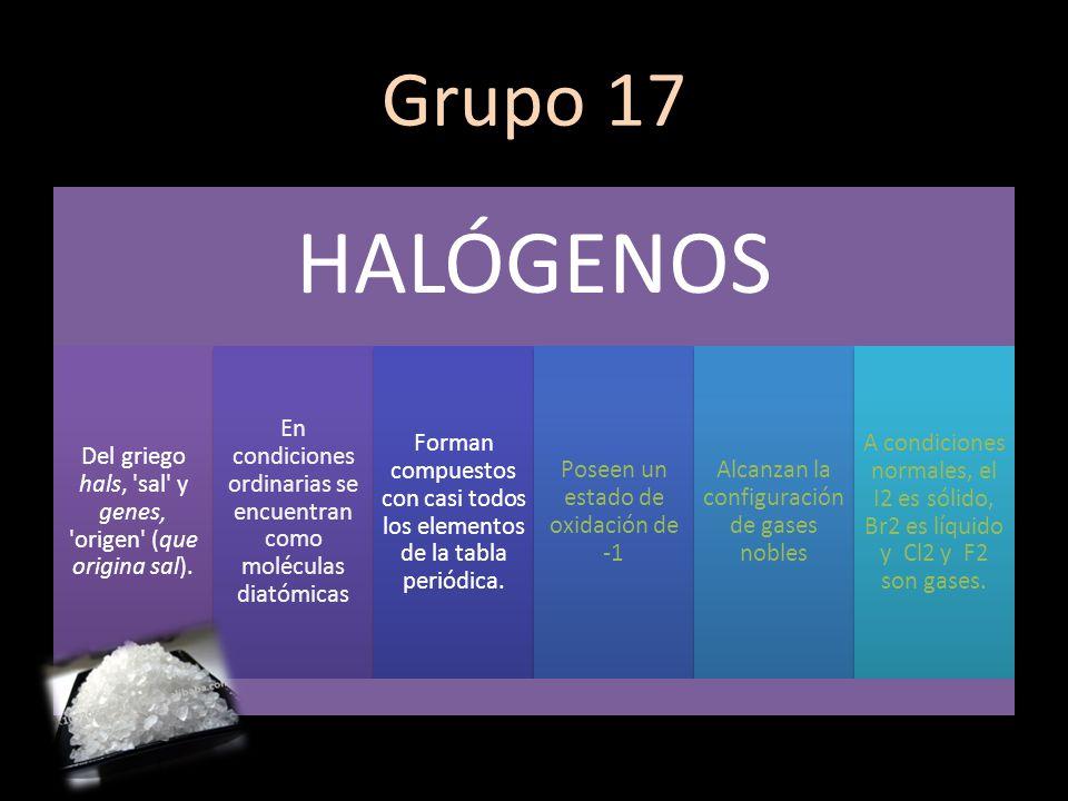 Grupo 17 HALÓGENOS Del griego hals, 'sal' y genes, 'origen' (que origina sal). En condiciones ordinarias se encuentran como moléculas diatómicas Forma
