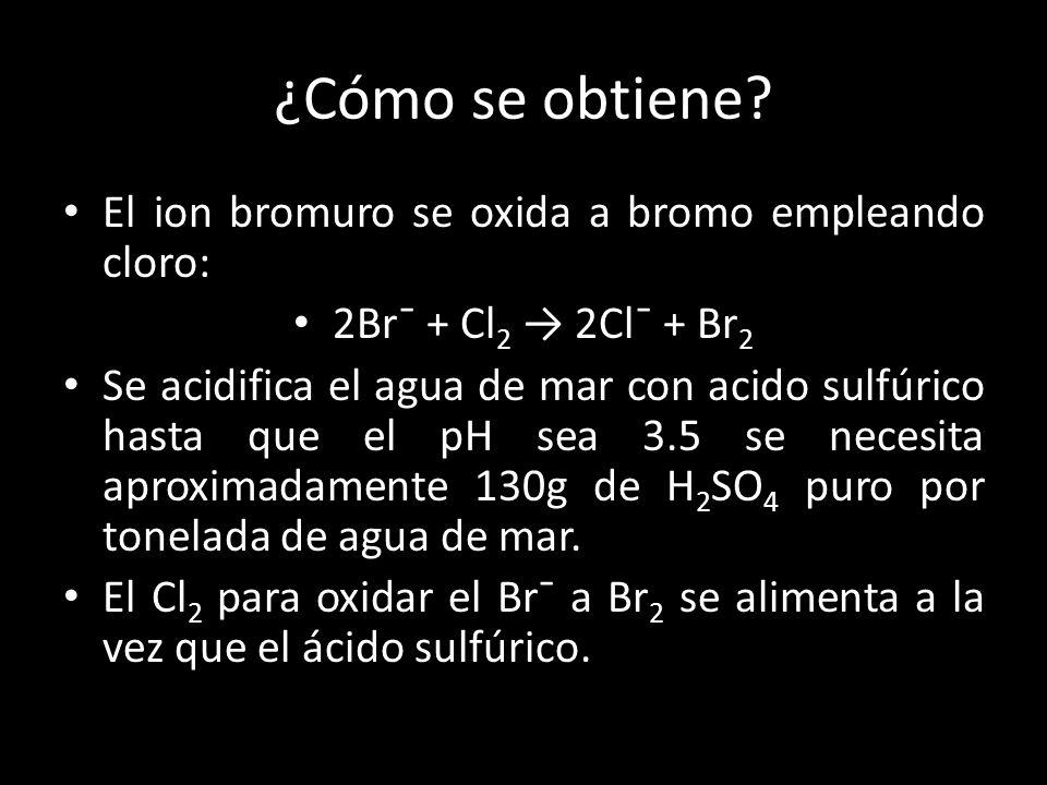 ¿Cómo se obtiene? El ion bromuro se oxida a bromo empleando cloro: 2Br¯ + Cl 2 2Cl¯ + Br 2 Se acidifica el agua de mar con acido sulfúrico hasta que e