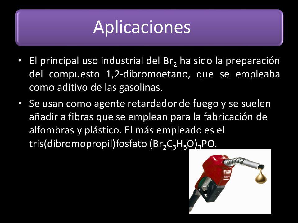 Aplicaciones El principal uso industrial del Br 2 ha sido la preparación del compuesto 1,2-dibromoetano, que se empleaba como aditivo de las gasolinas