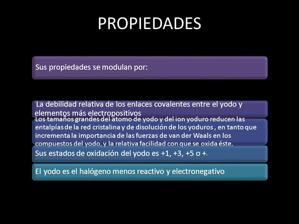 PROPIEDADES Sus propiedades se modulan por: La debilidad relativa de los enlaces covalentes entre el yodo y elementos más electropositivos Los tamaños
