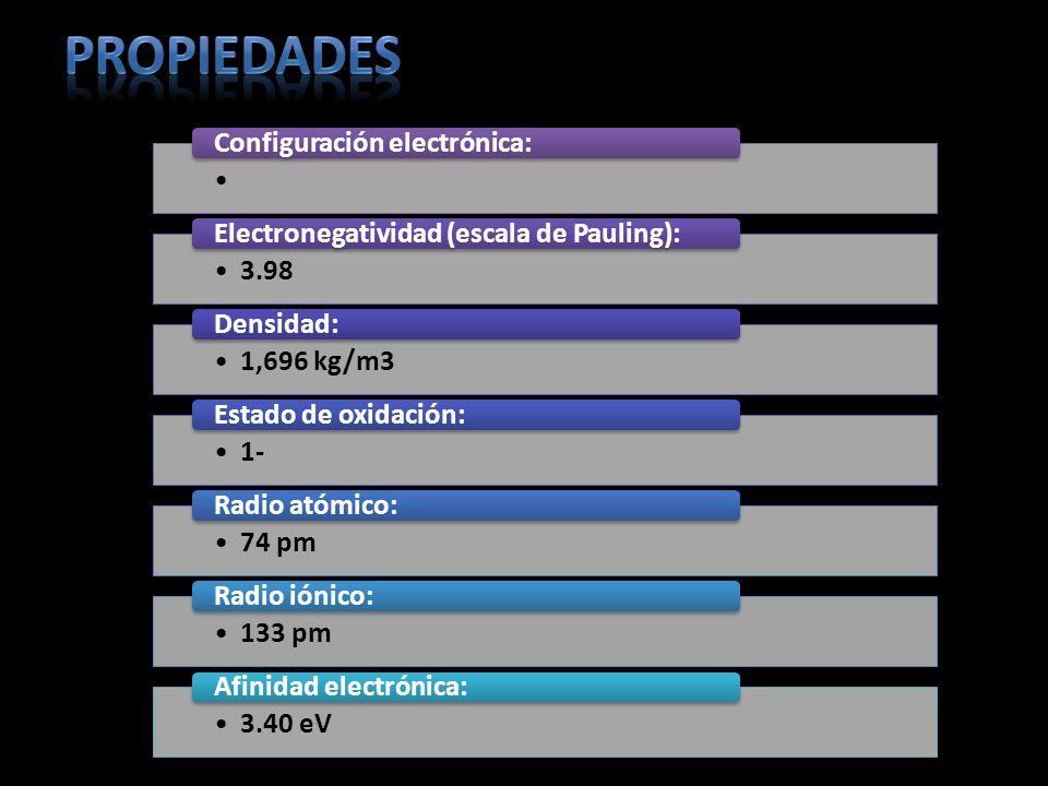 Configuración electrónica: 3.98 Electronegatividad (escala de Pauling): 1,696 kg/m3 Densidad: 1- Estado de oxidación: 74 pm Radio atómico: 133 pm Radi