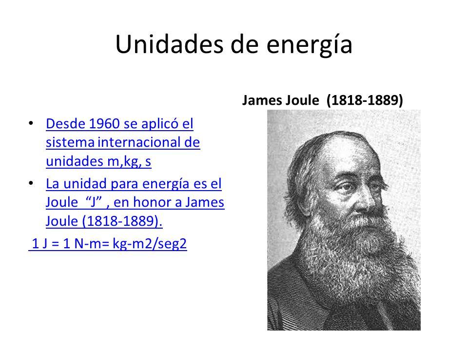 Unidades de energía Desde 1960 se aplicó el sistema internacional de unidades m,kg, s Desde 1960 se aplicó el sistema internacional de unidades m,kg, s La unidad para energía es el Joule J, en honor a James Joule (1818-1889).