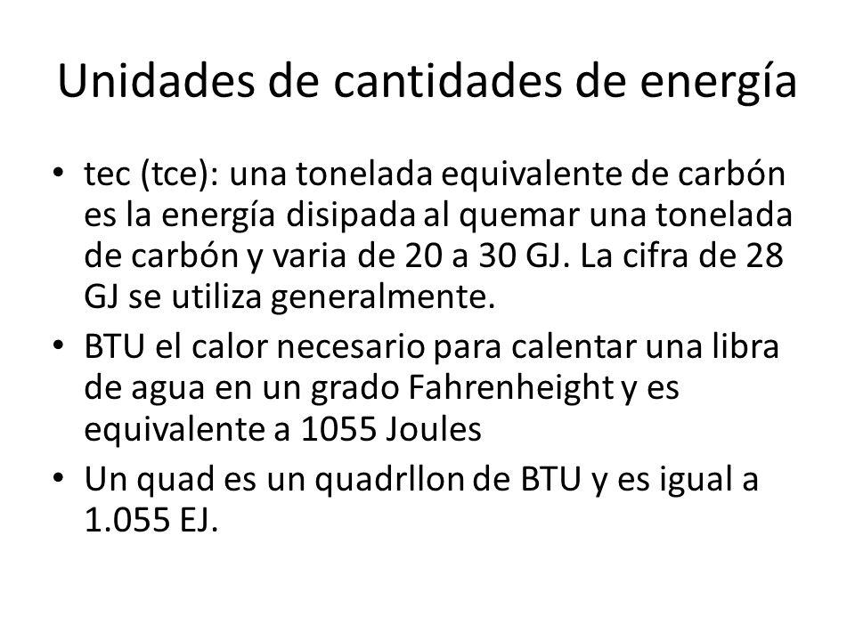 Unidades de cantidades de energía tec (tce): una tonelada equivalente de carbón es la energía disipada al quemar una tonelada de carbón y varia de 20 a 30 GJ.