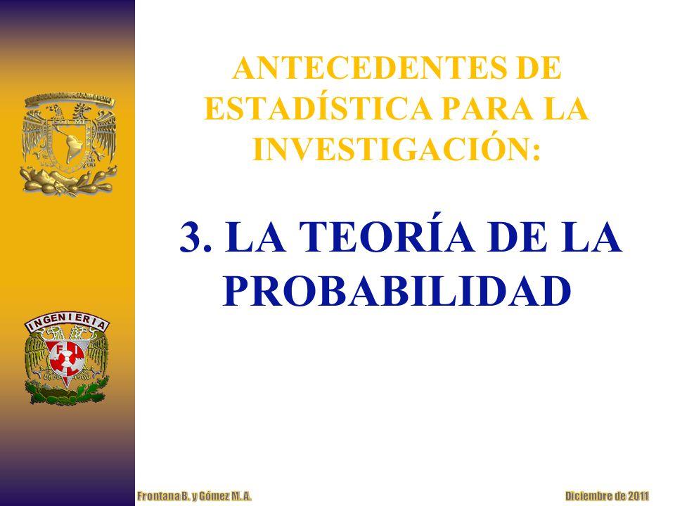 ANTECEDENTES DE ESTADÍSTICA PARA LA INVESTIGACIÓN: 3. LA TEORÍA DE LA PROBABILIDAD
