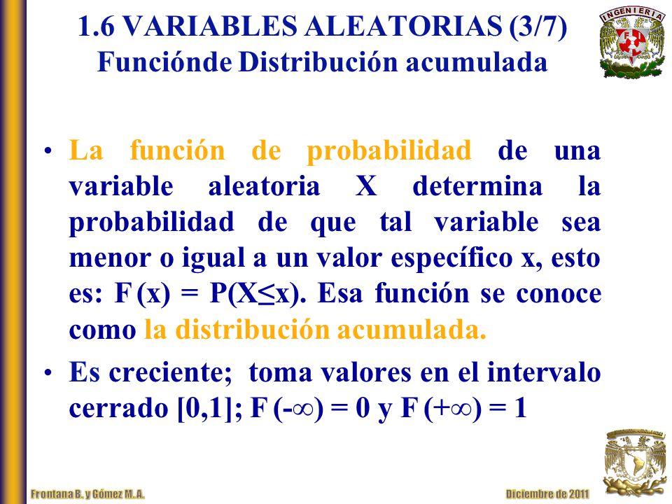 La función de probabilidad de una variable aleatoria X determina la probabilidad de que tal variable sea menor o igual a un valor específico x, esto es: F (x) = P(Xx).