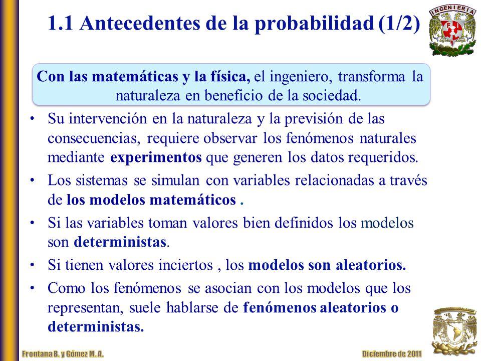 1.1 Antecedentes de la probabilidad (1/2) Con las matemáticas y la física, el ingeniero, transforma la naturaleza en beneficio de la sociedad.