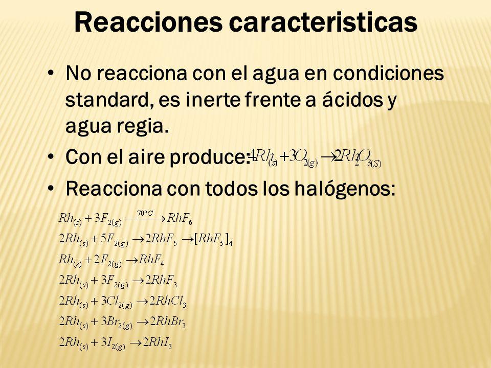 Reacciones caracteristicas No reacciona con el agua en condiciones standard, es inerte frente a ácidos y agua regia. Con el aire produce: Reacciona co
