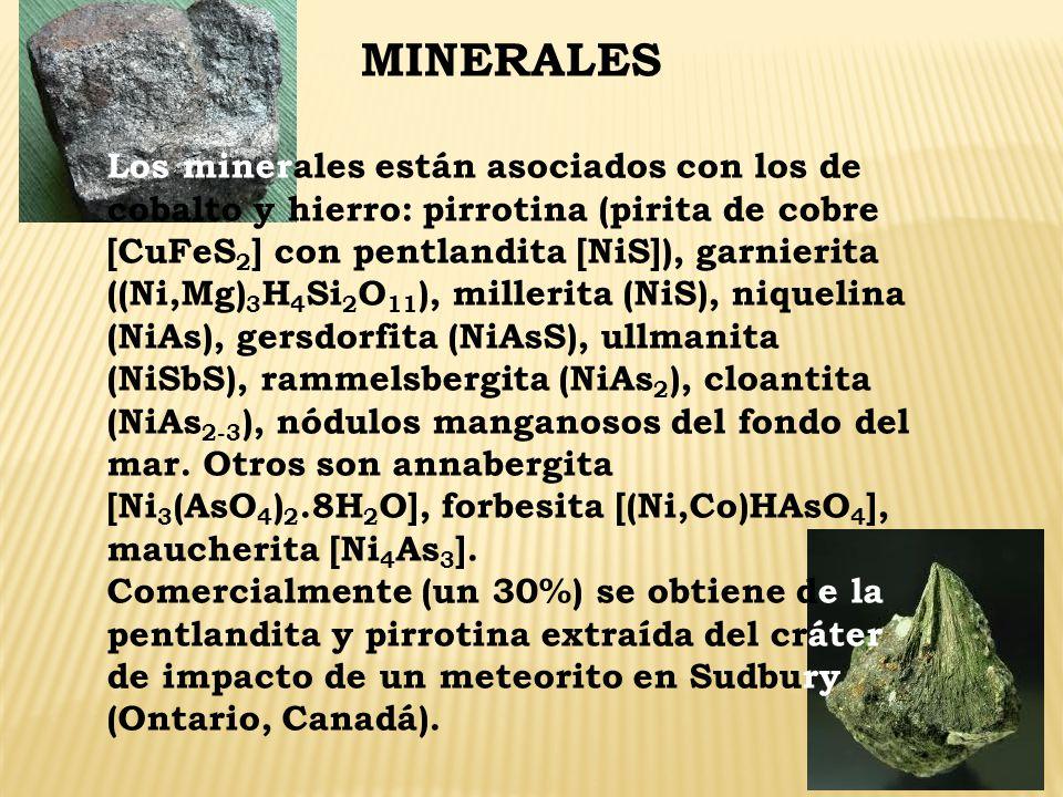 MINERALES Los minerales están asociados con los de cobalto y hierro: pirrotina (pirita de cobre [CuFeS 2 ] con pentlandita [NiS]), garnierita ((Ni,Mg)