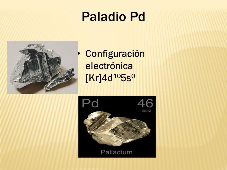 Paladio Pd Configuración electrónica [Kr]4d 10 5s 0