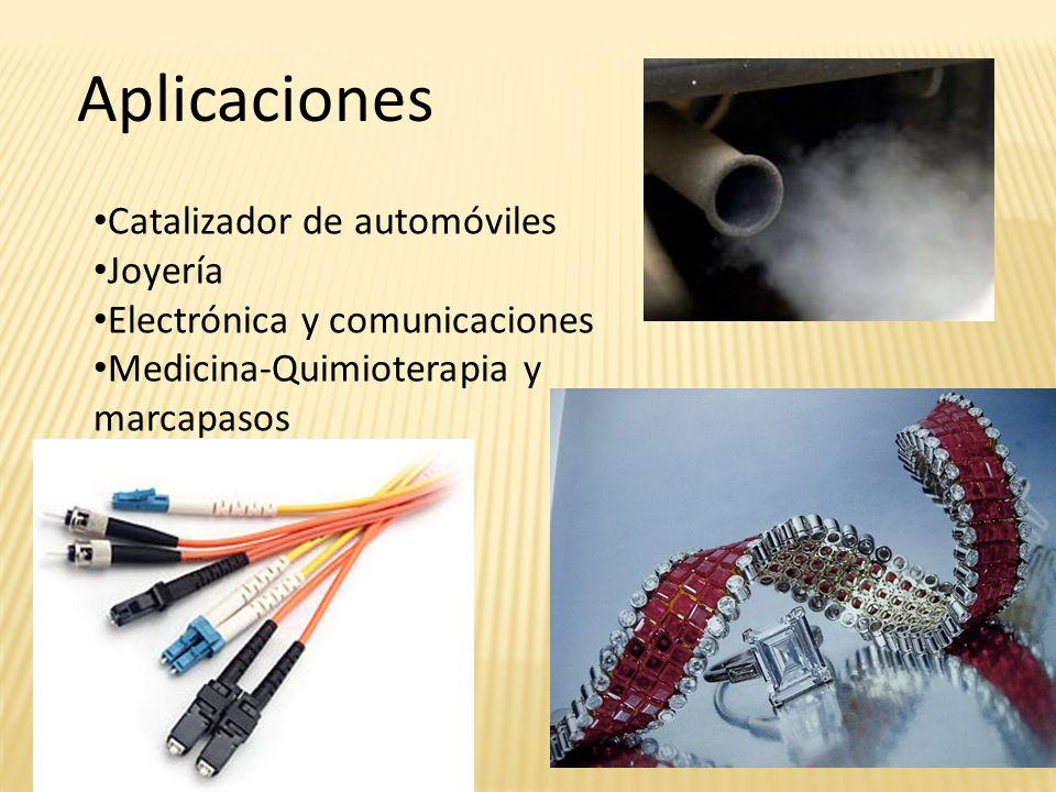 Catalizador de automóviles Joyería Electrónica y comunicaciones Medicina-Quimioterapia y marcapasos Aplicaciones