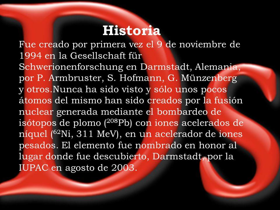 Historia Fue creado por primera vez el 9 de noviembre de 1994 en la Gesellschaft für Schwerionenforschung en Darmstadt, Alemania, por P. Armbruster, S