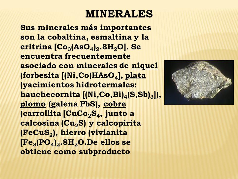 MINERALES Sus minerales más importantes son la cobaltina, esmaltina y la eritrina [Co 3 (AsO 4 ) 2.8H 2 O]. Se encuentra frecuentemente asociado con m