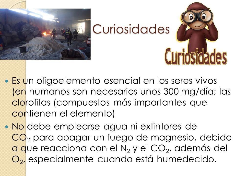 Curiosidades Es un oligoelemento esencial en los seres vivos (en humanos son necesarios unos 300 mg/día; las clorofilas (compuestos más importantes qu