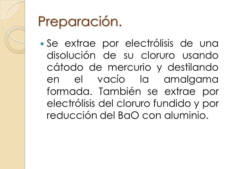 Preparación. Se extrae por electrólisis de una disolución de su cloruro usando cátodo de mercurio y destilando en el vacío la amalgama formada. Tambié