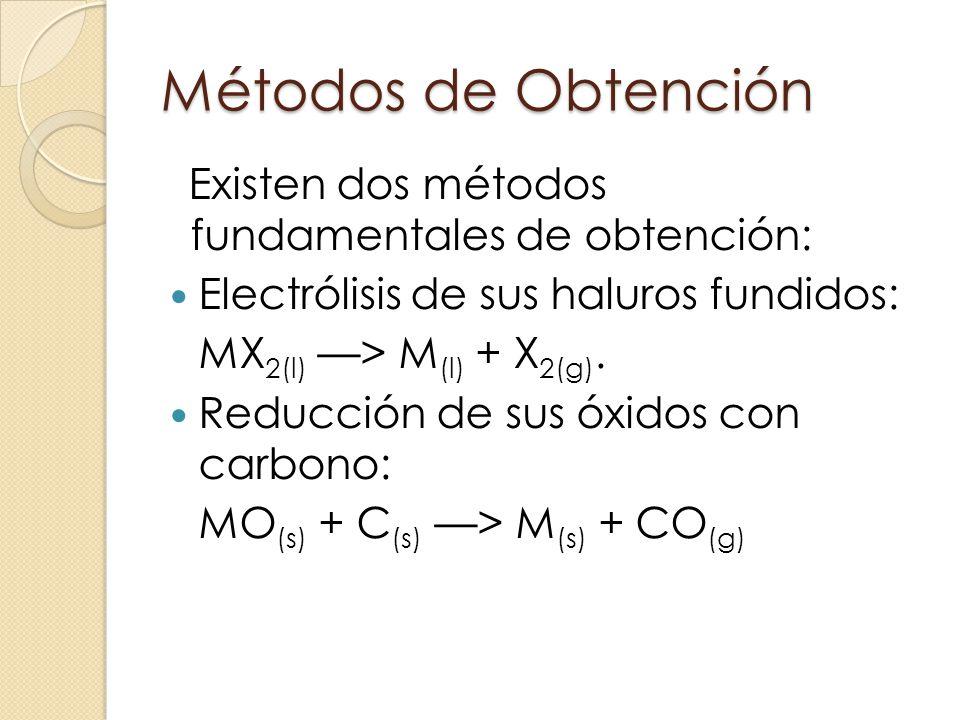 Métodos de Obtención Existen dos métodos fundamentales de obtención: Electrólisis de sus haluros fundidos: MX 2(l) > M (l) + X 2(g). Reducción de sus