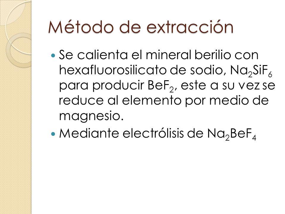 Método de extracción Se calienta el mineral berilio con hexafluorosilicato de sodio, Na 2 SiF 6 para producir BeF 2, este a su vez se reduce al elemen