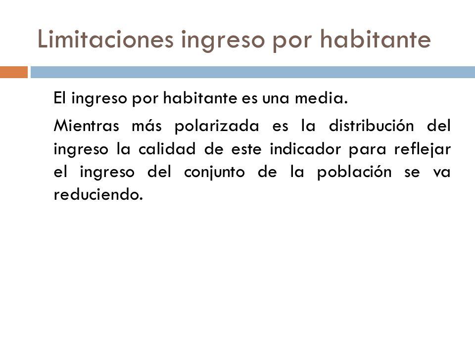 Limitaciones ingreso por habitante El ingreso por habitante es una media. Mientras más polarizada es la distribución del ingreso la calidad de este in
