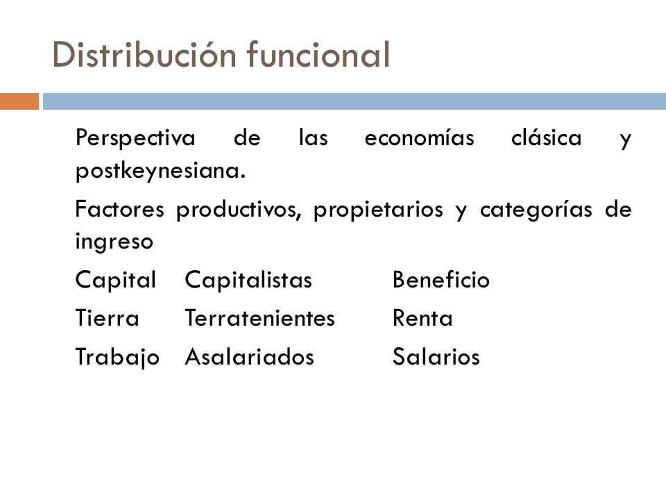Distribución funcional Perspectiva de las economías clásica y postkeynesiana. Factores productivos, propietarios y categorías de ingreso CapitalCapita