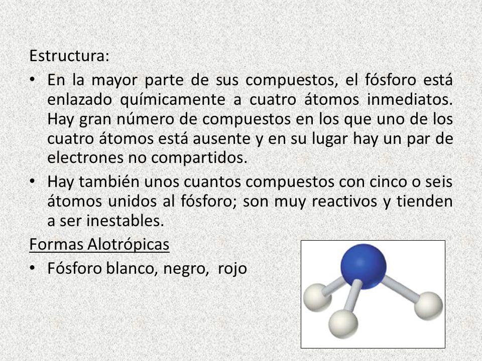Estructura: En la mayor parte de sus compuestos, el fósforo está enlazado químicamente a cuatro átomos inmediatos. Hay gran número de compuestos en lo