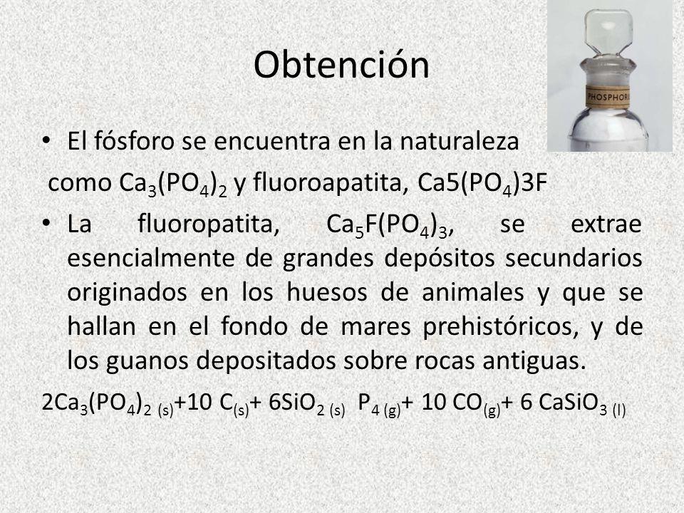 Obtención El fósforo se encuentra en la naturaleza como Ca 3 (PO 4 ) 2 y fluoroapatita, Ca5(PO 4 )3F La fluoropatita, Ca 5 F(PO 4 ) 3, se extrae esenc