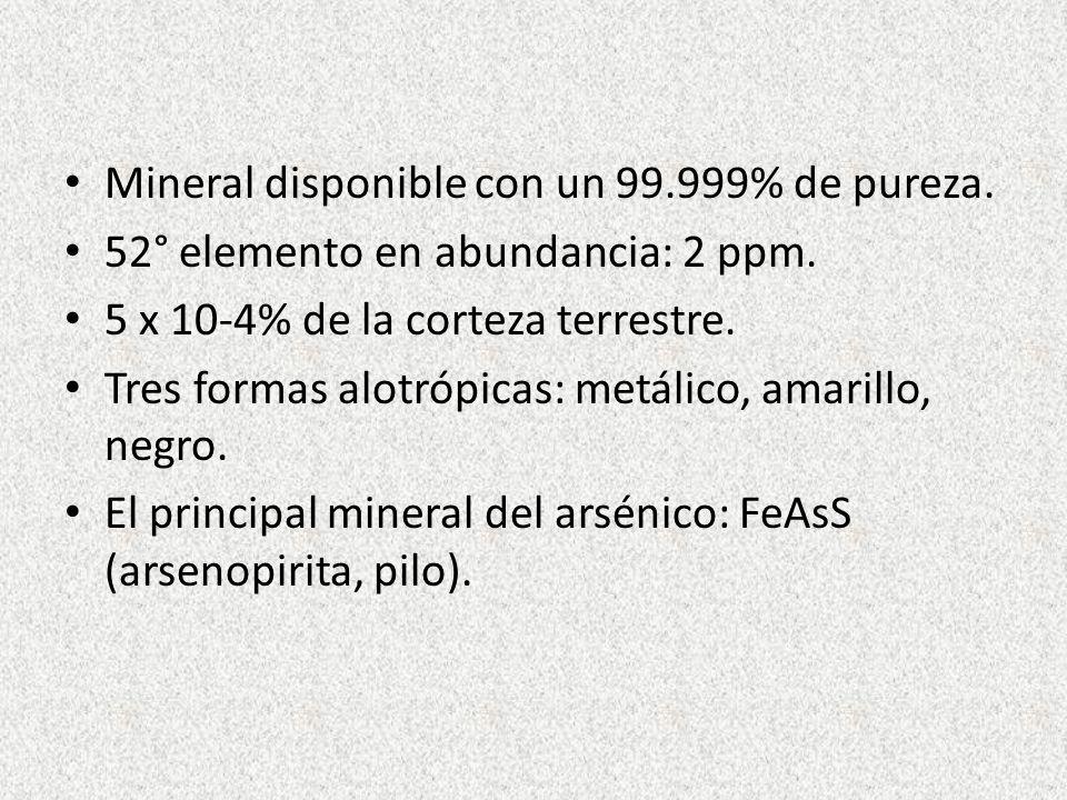 Mineral disponible con un 99.999% de pureza. 52° elemento en abundancia: 2 ppm. 5 x 10-4% de la corteza terrestre. Tres formas alotrópicas: metálico,