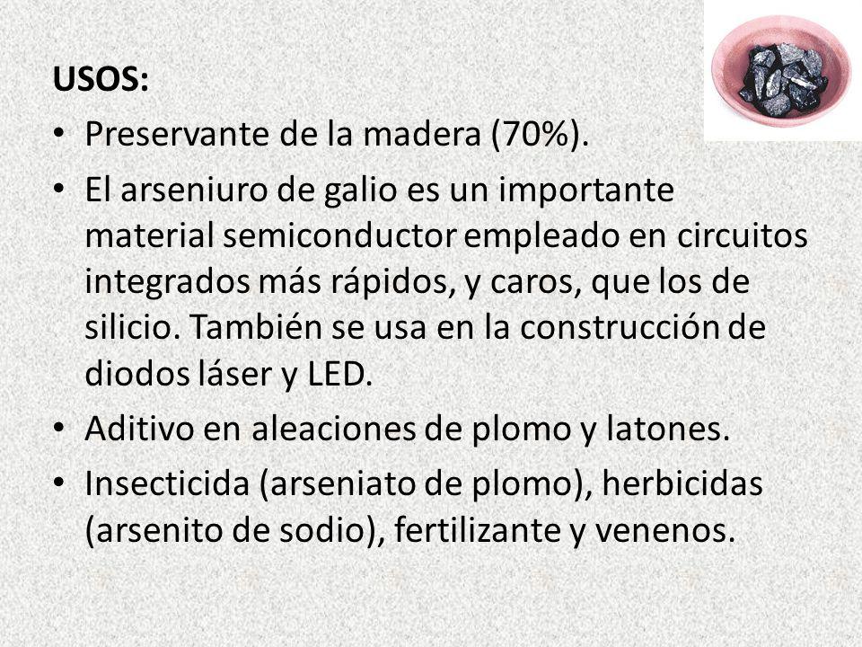 USOS: Preservante de la madera (70%). El arseniuro de galio es un importante material semiconductor empleado en circuitos integrados más rápidos, y ca