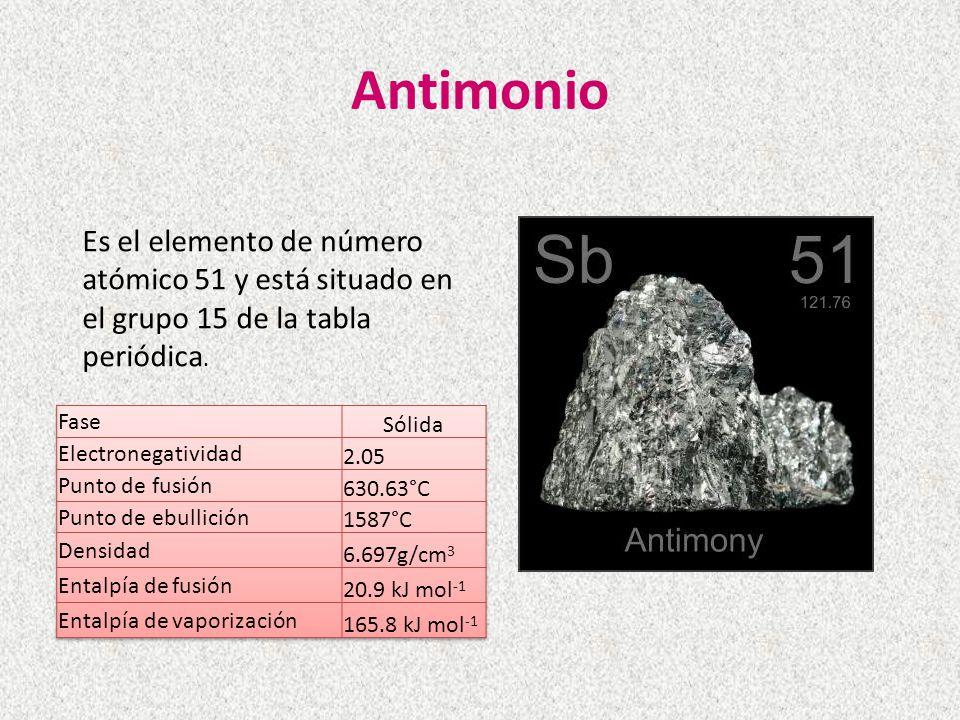 Antimonio Es el elemento de número atómico 51 y está situado en el grupo 15 de la tabla periódica.