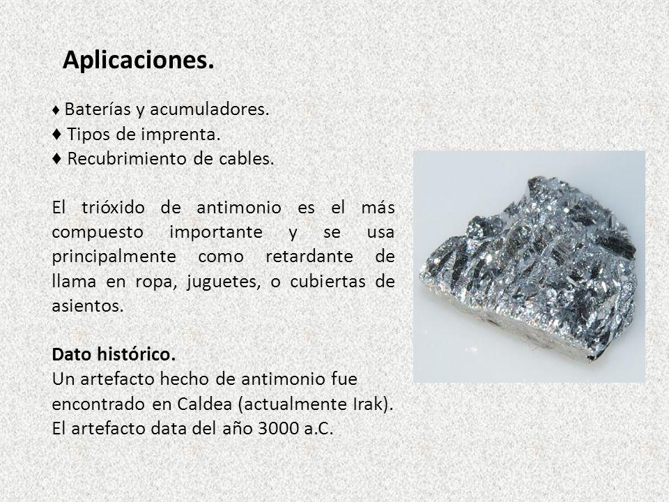 Aplicaciones. Baterías y acumuladores. Tipos de imprenta. Recubrimiento de cables. El trióxido de antimonio es el más compuesto importante y se usa pr