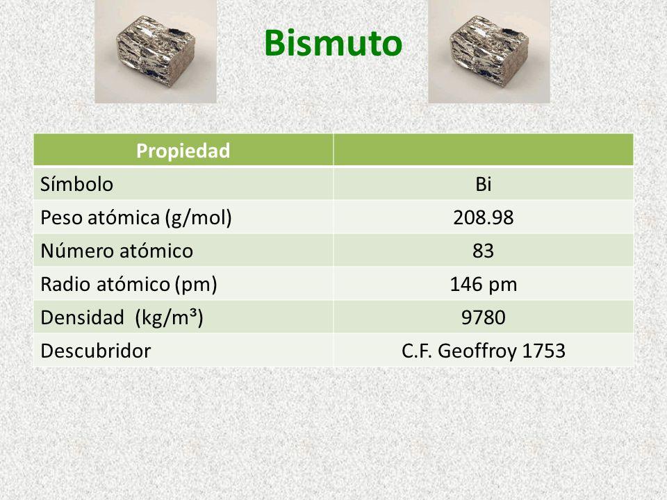 Bismuto Propiedad SímboloBi Peso atómica (g/mol)208.98 Número atómico83 Radio atómico (pm)146 pm Densidad (kg/m ³ )9780 DescubridorC.F. Geoffroy 1753
