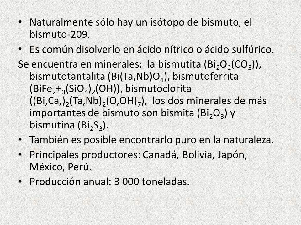 Naturalmente sólo hay un isótopo de bismuto, el bismuto-209. Es común disolverlo en ácido nítrico o ácido sulfúrico. Se encuentra en minerales: la bis