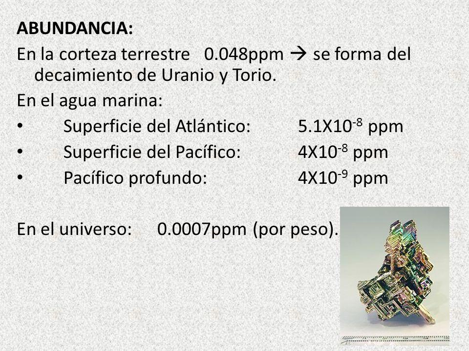 ABUNDANCIA: En la corteza terrestre0.048ppm se forma del decaimiento de Uranio y Torio. En el agua marina: Superficie del Atlántico:5.1X10 -8 ppm Supe