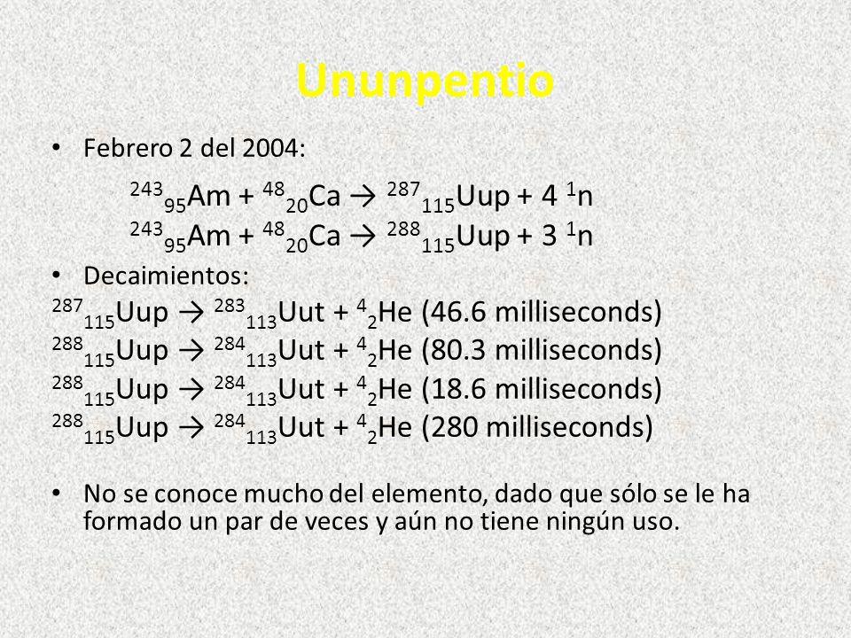 Ununpentio Febrero 2 del 2004: Decaimientos: 287 115 Uup 283 113 Uut + 4 2 He (46.6 milliseconds) 288 115 Uup 284 113 Uut + 4 2 He (80.3 milliseconds) 288 115 Uup 284 113 Uut + 4 2 He (18.6 milliseconds) 288 115 Uup 284 113 Uut + 4 2 He (280 milliseconds) No se conoce mucho del elemento, dado que sólo se le ha formado un par de veces y aún no tiene ningún uso.