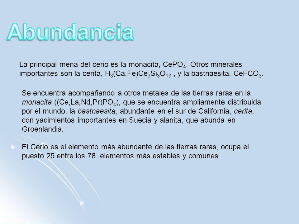 La principal mena del cerio es la monacita, CePO 4. Otros minerales importantes son la cerita, H 3 (Ca,Fe)Ce 3 Si 3 O 13, y la bastnaesita, CeFCO 3. S