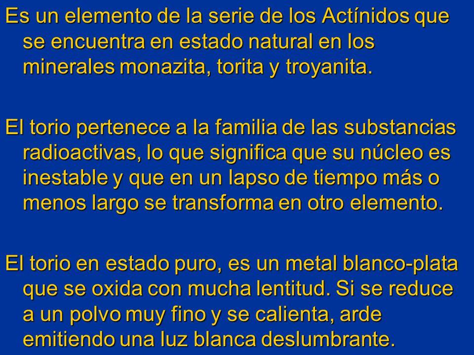Es un elemento de la serie de los Actínidos que se encuentra en estado natural en los minerales monazita, torita y troyanita. El torio pertenece a la