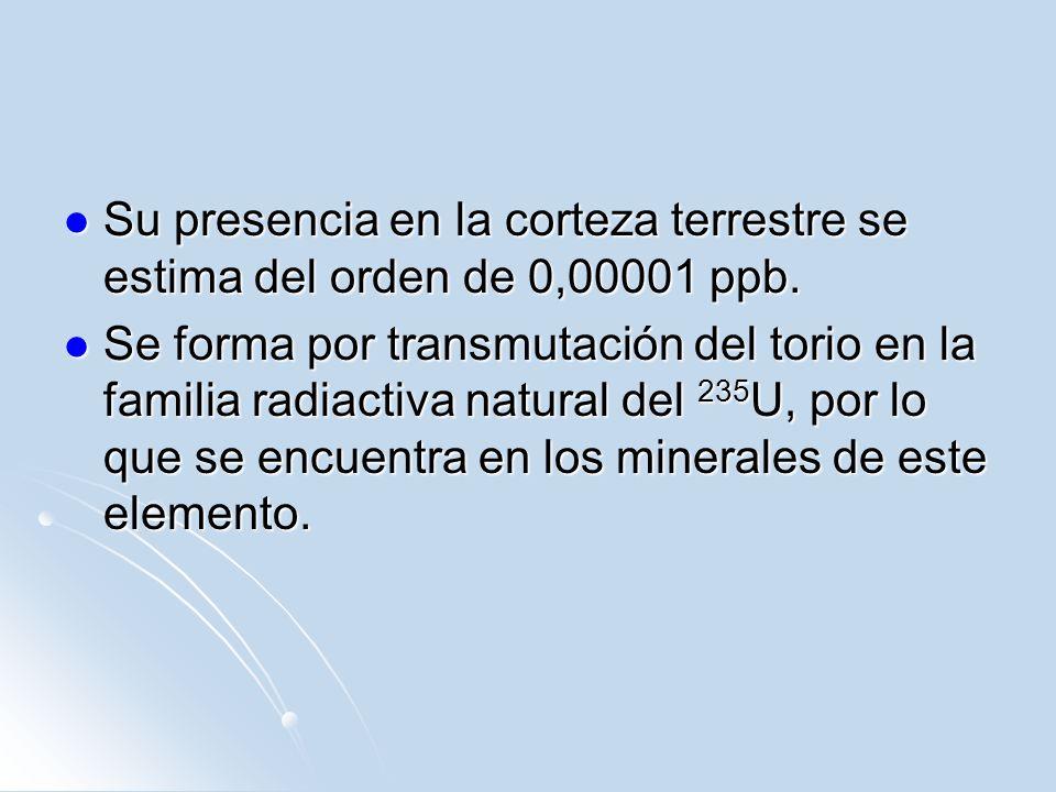 Su presencia en la corteza terrestre se estima del orden de 0,00001 ppb. Su presencia en la corteza terrestre se estima del orden de 0,00001 ppb. Se f