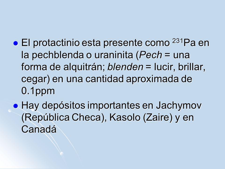 El protactinio esta presente como 231 Pa en la pechblenda o uraninita (Pech = una forma de alquitrán; blenden = lucir, brillar, cegar) en una cantidad