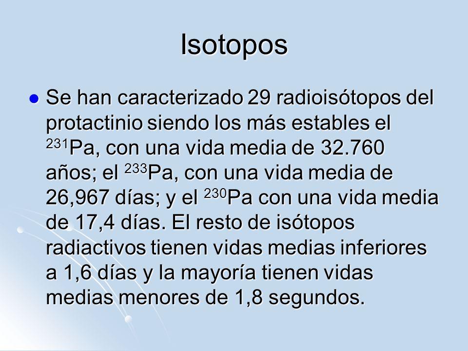 Isotopos Se han caracterizado 29 radioisótopos del protactinio siendo los más estables el 231 Pa, con una vida media de 32.760 años; el 233 Pa, con un