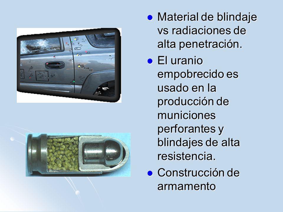 Material de blindaje vs radiaciones de alta penetración. Material de blindaje vs radiaciones de alta penetración. El uranio empobrecido es usado en la