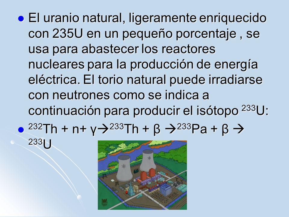 El uranio natural, ligeramente enriquecido con 235U en un pequeño porcentaje, se usa para abastecer los reactores nucleares para la producción de ener