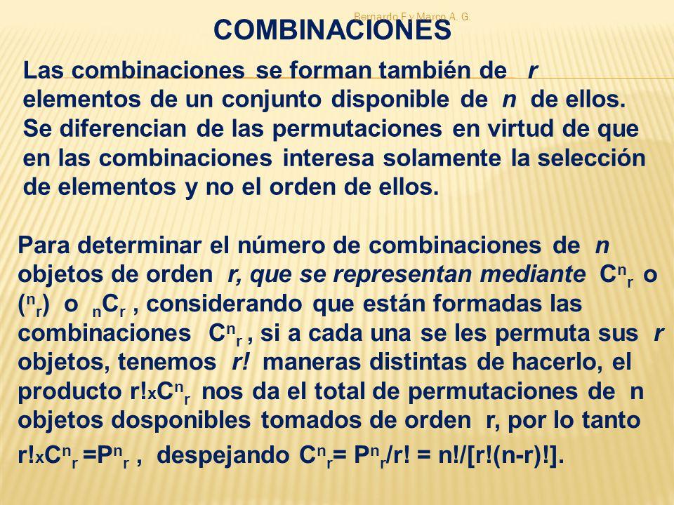 Las combinaciones se forman también de r elementos de un conjunto disponible de n de ellos. Se diferencian de las permutaciones en virtud de que en la