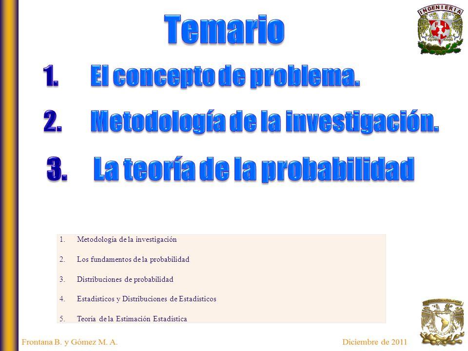 1.Metodología de la investigación 2.Los fundamentos de la probabilidad 3.Distribuciones de probabilidad 4.Estadísticos y Distribuciones de Estadísticos 5.Teoría de la Estimación Estadística