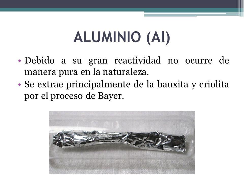 ALUMINIO (Al) Debido a su gran reactividad no ocurre de manera pura en la naturaleza.