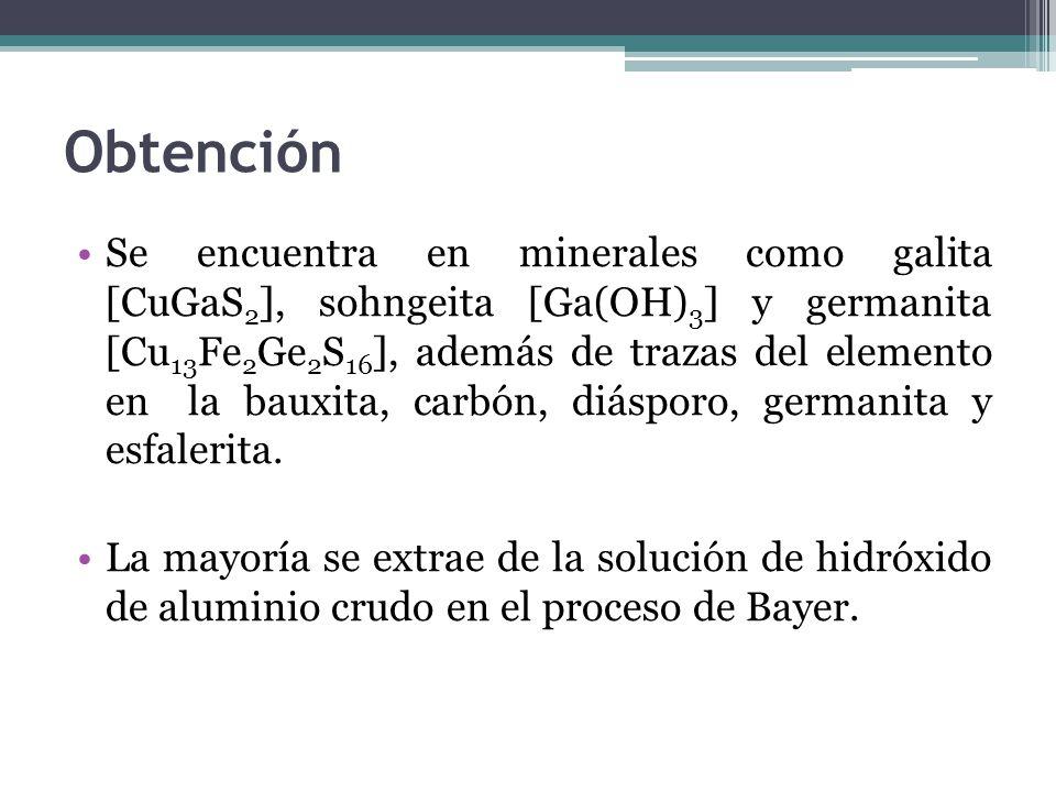 Obtención Se encuentra en minerales como galita [CuGaS 2 ], sohngeita [Ga(OH) 3 ] y germanita [Cu 13 Fe 2 Ge 2 S 16 ], además de trazas del elemento en la bauxita, carbón, diásporo, germanita y esfalerita.