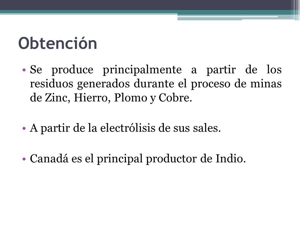 Obtención Se produce principalmente a partir de los residuos generados durante el proceso de minas de Zinc, Hierro, Plomo y Cobre.