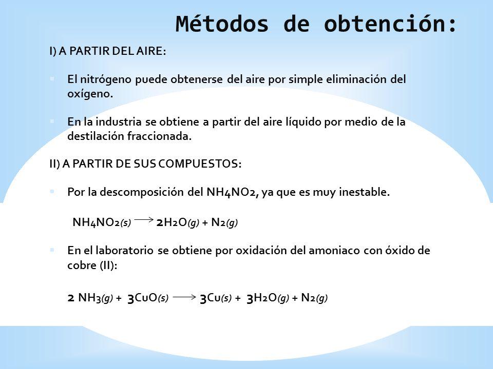 Métodos de obtención: I) A PARTIR DEL AIRE: El nitrógeno puede obtenerse del aire por simple eliminación del oxígeno. En la industria se obtiene a par