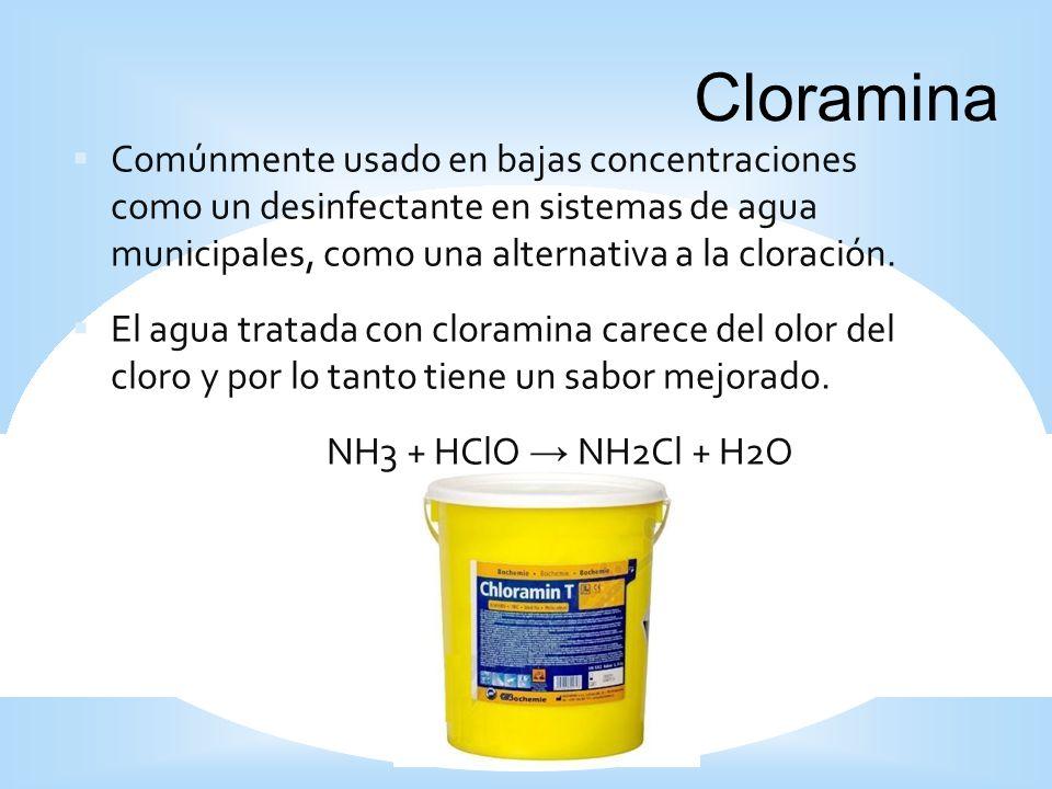 Comúnmente usado en bajas concentraciones como un desinfectante en sistemas de agua municipales, como una alternativa a la cloración. El agua tratada