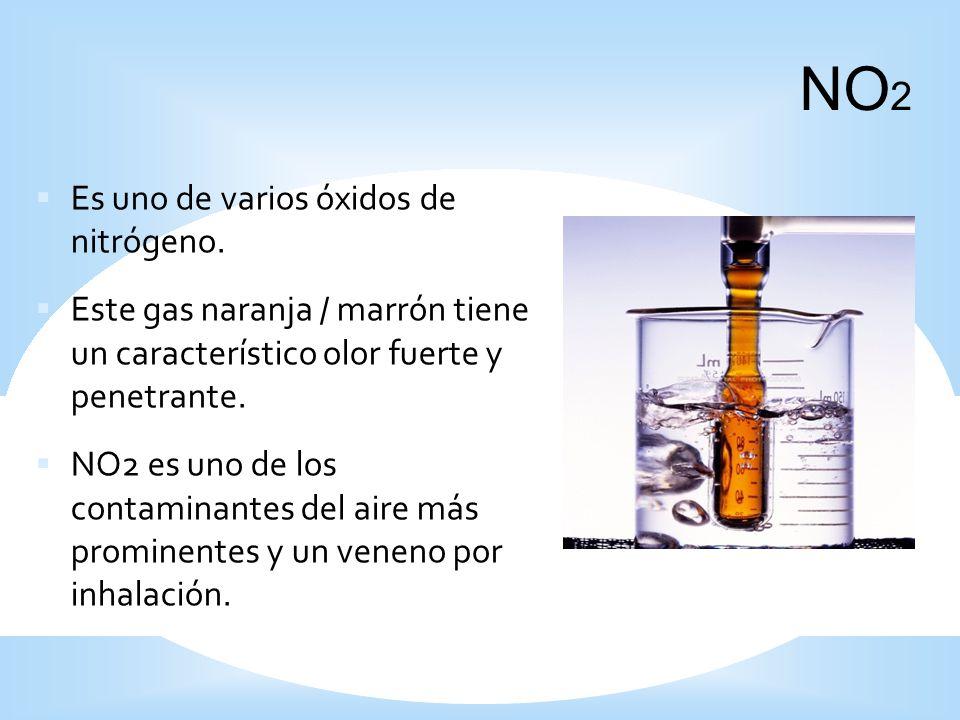 Es uno de varios óxidos de nitrógeno. Este gas naranja / marrón tiene un característico olor fuerte y penetrante. NO2 es uno de los contaminantes del