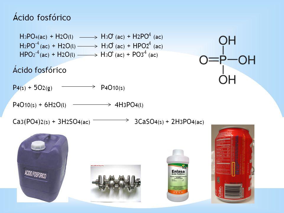 Ácido fosfórico P 4(s) + 5O 2(g) P 4 O 10(s) P 4 O 10(s) + 6H 2 O (l) 4H 3 PO 4(l) Ca 3 (PO 4 ) 2(s) + 3H 2 SO 4(ac) 3CaSO 4(s) + 2H 3 PO 4(ac) H 3 PO
